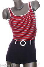 Vintage 80s Swimsuit NAUTICAL Sailor STRIPE Play suit Romper Spandex EUC XS-M 8