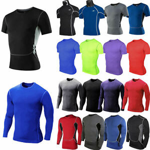 Mens Compression Skins Base Layer Sports Gym Fitness Work T-Shirt Tight Blouse