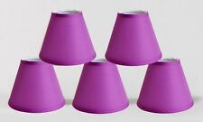 "Urbanest Satin Hardback Chandelier Mini Lamp Shades,3""x6""x 5"" Purple,Set of 5"
