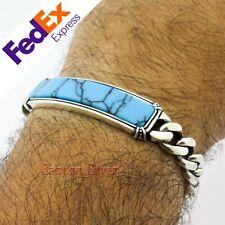 Cuban Link 925 Sterling Silver Turquoise Stone Heavy Men's Bracelet 8.25″ inch