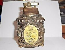 """VINTAGE ORNATE DIE CAST METAL 4-1/4"""" TABLE LIGHTER WITH BEAUTIFUL FLORAL CAMEO"""