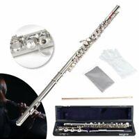 17 Open Hole Professional Silver Flute Offset G Key B Foot Split E w/ Case  Y H