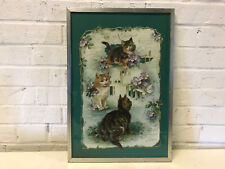 Antique Large Framed Valentine Valentine's Day Card w/ Cats & Flowers Decoration