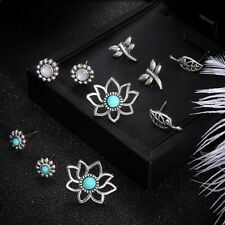 5 Pair/Set Vintage Turquoise Leaf Flower Insect Ear Studs for Women Jewelry