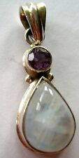 ARTISAN BOLD STERLING SILVER PENDANT NATURAL AMETHYST ABALONE MOON STONE 8.7 GR
