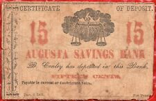 1861 - 15 CENTS - CONFEDERATE - AUGUSTA SAVINGS BANK - OBSOLETE CURRENCY - CSA