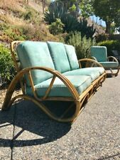 Vintage, Modern, Mid Century, 2 Piece Bamboo Furniture, Sofa and Chair Set