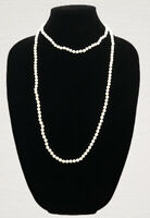 Long Vintage Necklace White Milk Glass Beads Flapper Gatsby Style Pretty Kitsch