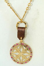 G & H Sade Gold & Crystal Medallion w Leather Necklace
