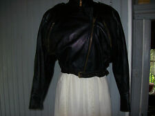 blouson court vintage plein cuir noir .t 2 . (3/C/G)