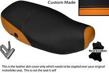 Naranja Y Negro Custom encaja Piaggio Vespa Lx 125 Doble Cuero Funda De Asiento
