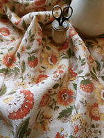 Antique Vintage French Floral Fabric ~ warm hues ~ rust olive sunflower yellow