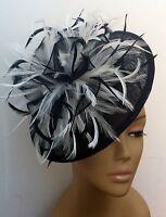 Bespoke Black/White Hat Fascinator Mother Of The Bride/Groom Weddings Races