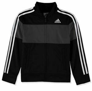 Adidas Boys Size:SMALL 8 Logo Warm Up Tricot Jacket Full Zip-up Color:Black/Gray