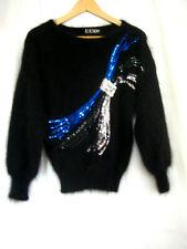 Vintage 80s Escada Black Mohair Sequin Drop Shoulder Sweater W. Germany Size 34