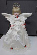 "Vintage 1988 Ehw Roman Tree Topper Angel w Wings Beautiful Roses 20"" tall"