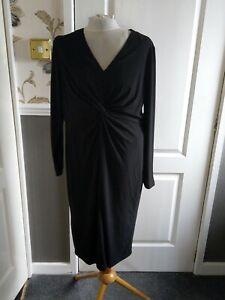 BNWT Ladies Black Knot Front Dress, size 14, Ronni Nicole, QVC