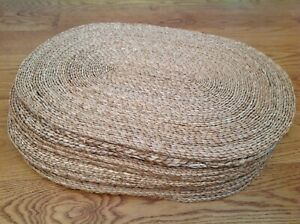 """WILLIAMS SONOMA VINTAGE 1990s SET 10 NATURAL STRAW WICKER OVAL PLACEMAT 20""""x15"""""""