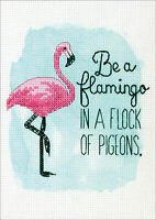 "Dimensions Counted Cross Stitch Kit 5""X7""-Be A Flamingo (14 Count), 70-65168"