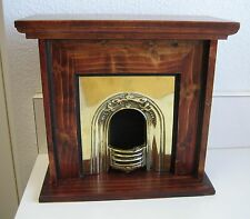 Large antique doll brass fireplace wood surround
