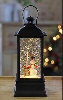"8.75"" FROSTY'S TREE FARM MUSICAL LIGHTED WATER LANTERN CHRISTMAS RAZ 4000793 NEW"