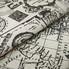 50x150 Cotton Linen Fabric Black Print World Map Compass Diy Home Deco 823-2 E