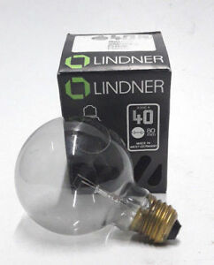 Lindner Bulb 40w E27 235v 2000h Globe Lamp Light G80 Smoked Fume Nos Germany