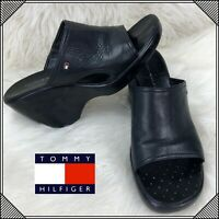 TOMMY HILFIGER Leather Slip On Slides Sandals Womens Size 10 M Black Shoes