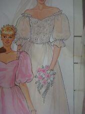Vintage Butterick 6393 DOUBLE CAP SLEEVED WEDDING DRESS Sewing Pattern Women