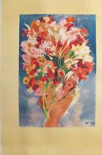 1940s MONTE CARLO FLOWER GIRL - JEAN-GABRIEL DOMERGUE, MONTE CARLO TRAVEL POSTER