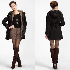 2016 Black L Women's Thicken Fleece Faux Fur Coat Hoodies Parka Overcoat Jacket