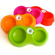 New Hot SALE Water Food Bowl Pet Dog Cat Feeder Solid Color Dish Plastic Made