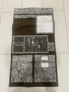 Thirty One Hanging Wall Organizer Gray and Brown Floral 41 x 22 Pockets Office