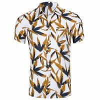 Summer men's short sleeve top beach floral printed shirt casual shirt new