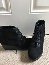 Black New Look Lace Up Wedge Boots - Size 5