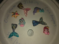 3D Mermaid & Tails Lot Of 8 Crocs Shoe,Bracelet,Lace Adapter Charms,Jibbitz