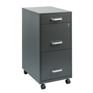 Mobile File Cabinet with Lock Sliding Office Vertical 3-Drawer Filing Cabinet