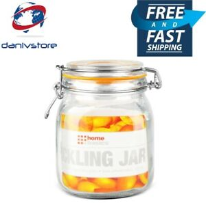 Home Basics 34 oz. Glass Pickling Jar with Wire Bail Lid and Rubber Seal Gasket