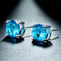 December Birthstone Sky Blue Topaz Round 5mm Stud Earrings Silver