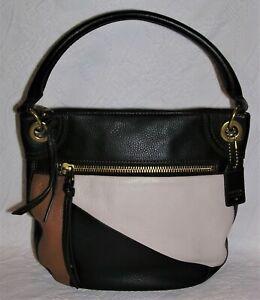Fossil Karli Patchwork Leather Bucket Bag Purse Handbag - Black, Tan, Cream
