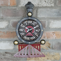 Antique Vintage Home Office Steam Train Engine Control Wall Mounted Clock Large