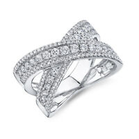 14K White Gold Diamond X Crossover Ring Womens Cocktail Statement Round Cut 7