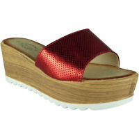 Womens Slip On Wedges Ladies Platform Cleated Sole Mid Wedge Heel Shoes Size
