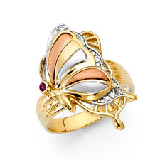 Women 14k Yellow White Rose Real Gold Ruby CZ Butterfly Lucky Fashion Ring Band