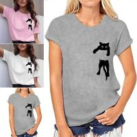 Women's Cat Print O-Neck Short Sleeve T-Shirt Casual Loose Pullover Blouse Tops