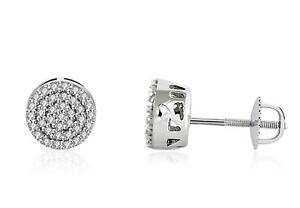 Diamond Earrings 10K White Gold diamond Pave diamond Cluster Studs .25ct