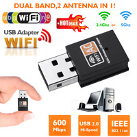 600Mbps Dual Band 2.4G-5G Hz Wireless Lan Card USB PC WiFi Adapter 802.11AC ES
