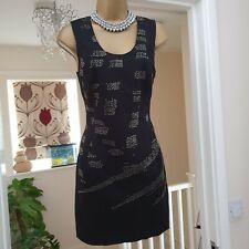 Religion Dress Black Cotton Bodycon Jet Beads Mini Party Clubbing Size S UK 8-10