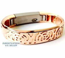 Rose Gold Metal Flowers Design Band For Fitbit Alta HR Wristband Stainless