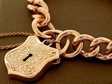 Heavy Genuine 9ct SOLID ROSE Gold CURB-LINK Shield PADLOCK Bracelet 50gr 18.5cm